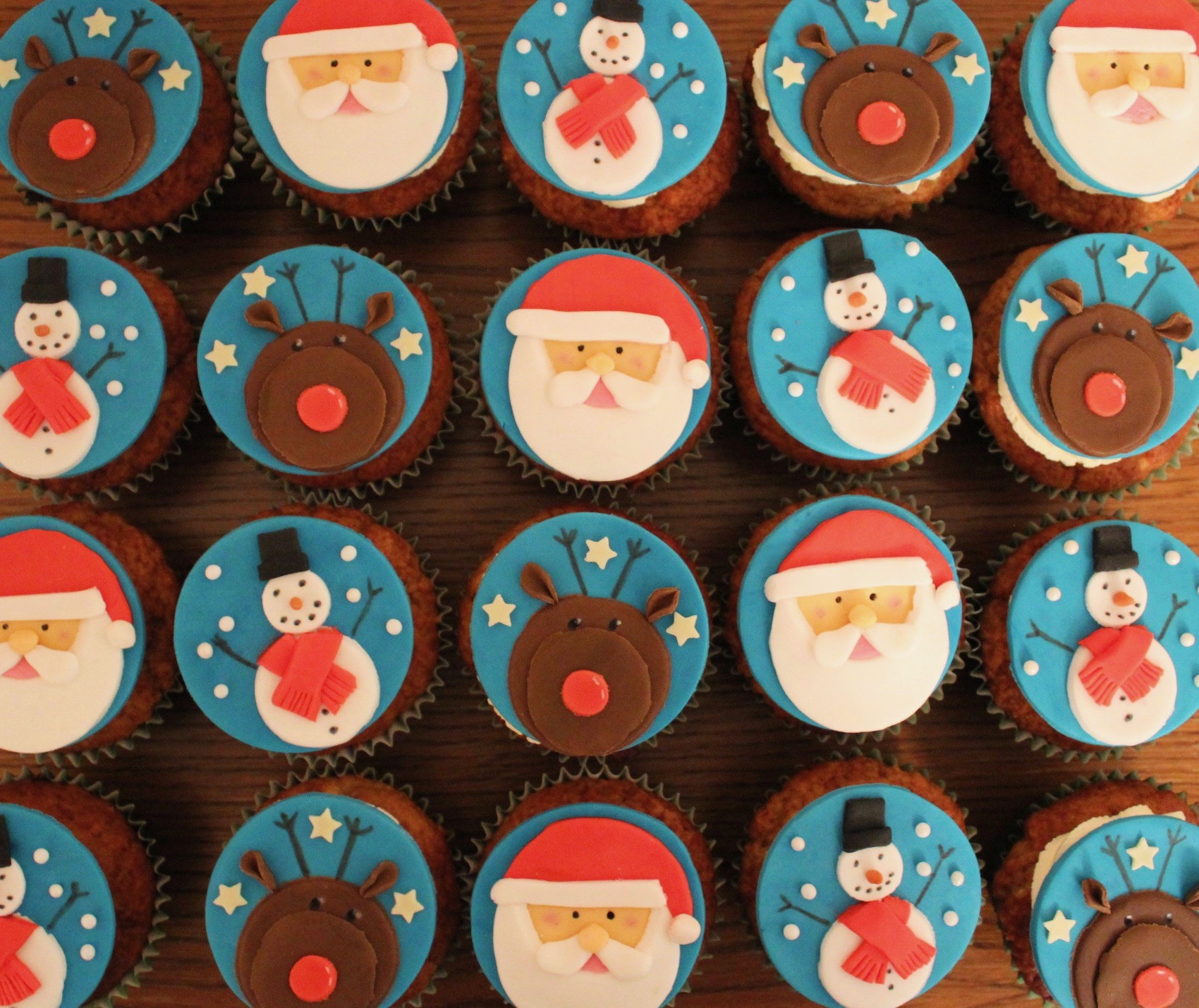 Christmas character cupcakes with Rudolph reindeer, Santa Father Christmas & Snowman