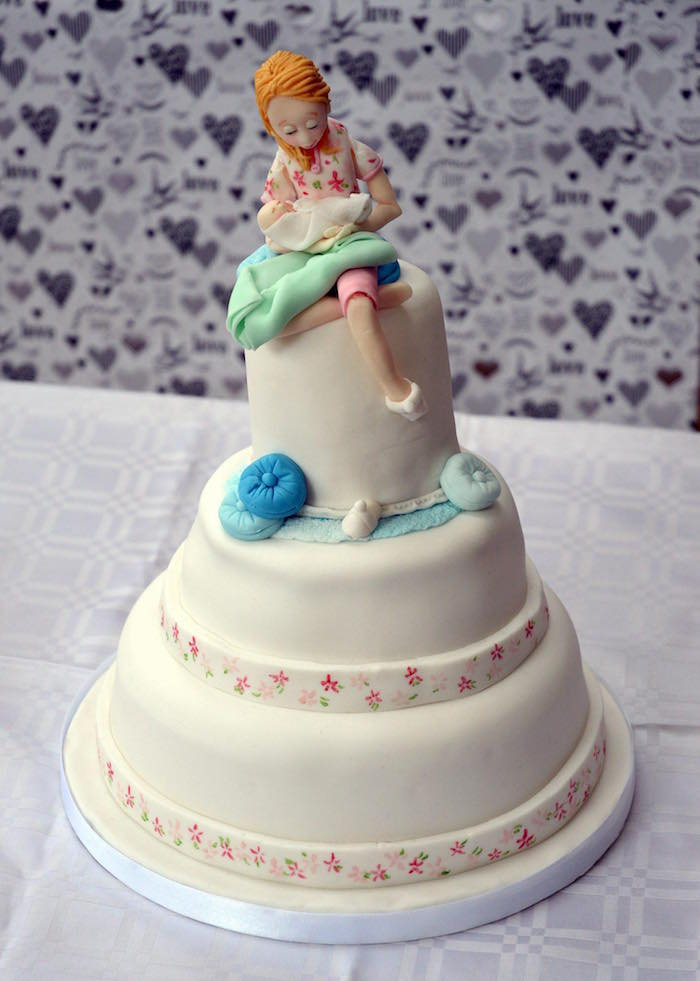 Mother & child two-tier christening cake