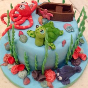 Sea Life Celebration Birthday Cake with boat, turtle, fish and octopus