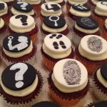Murder Mystery monochrome hand painted cupcakes