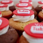 You Tube logo cupcakes with buttercream swirls