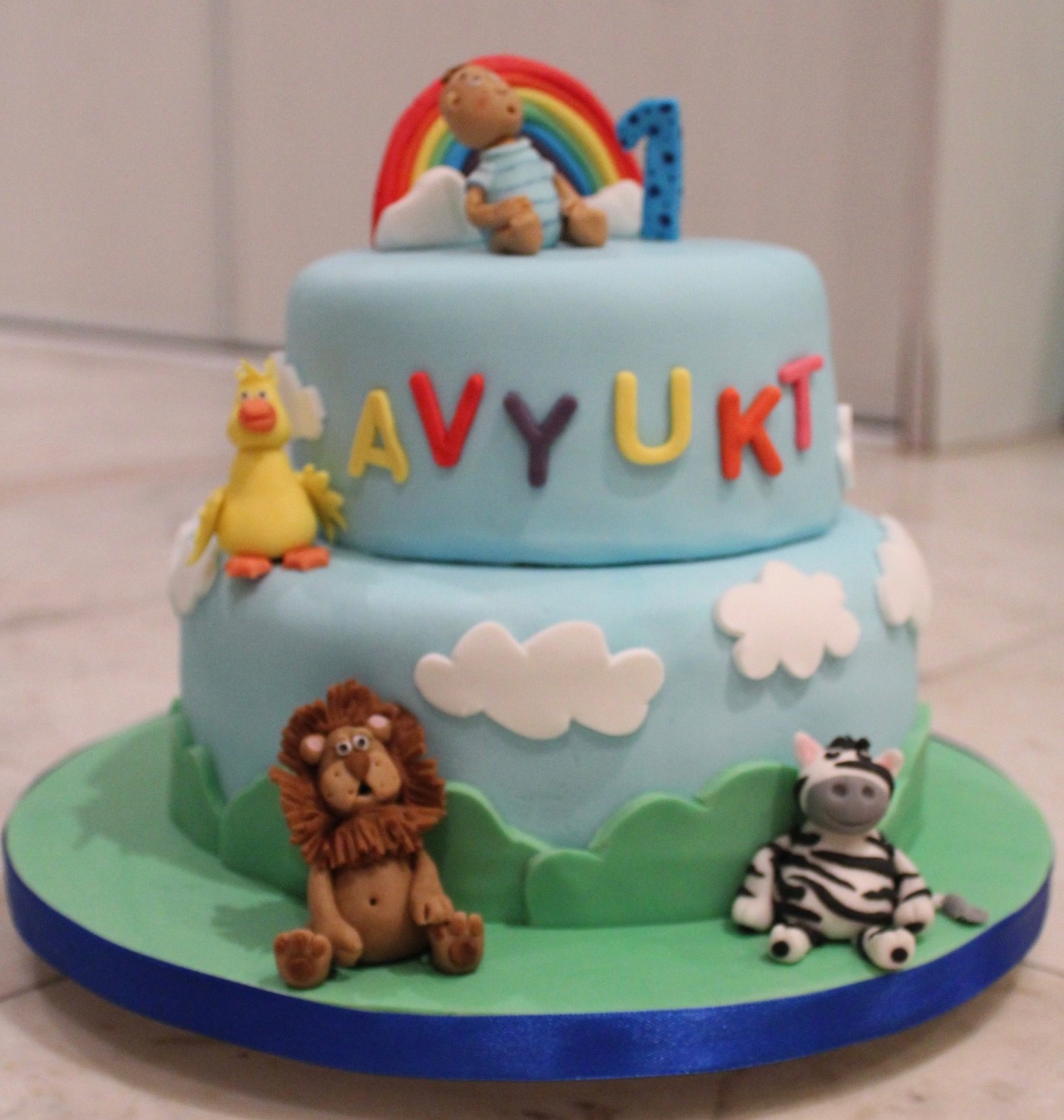 Cute Animal 1st Birthday Cake