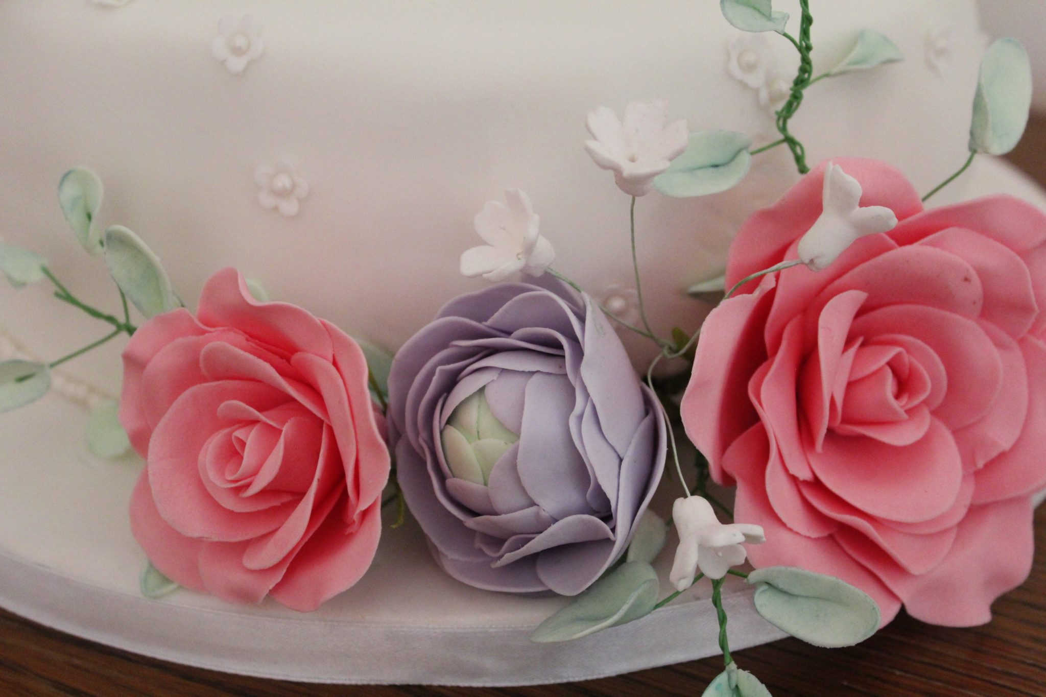 Sugar Flower two-tier white Wedding Cake