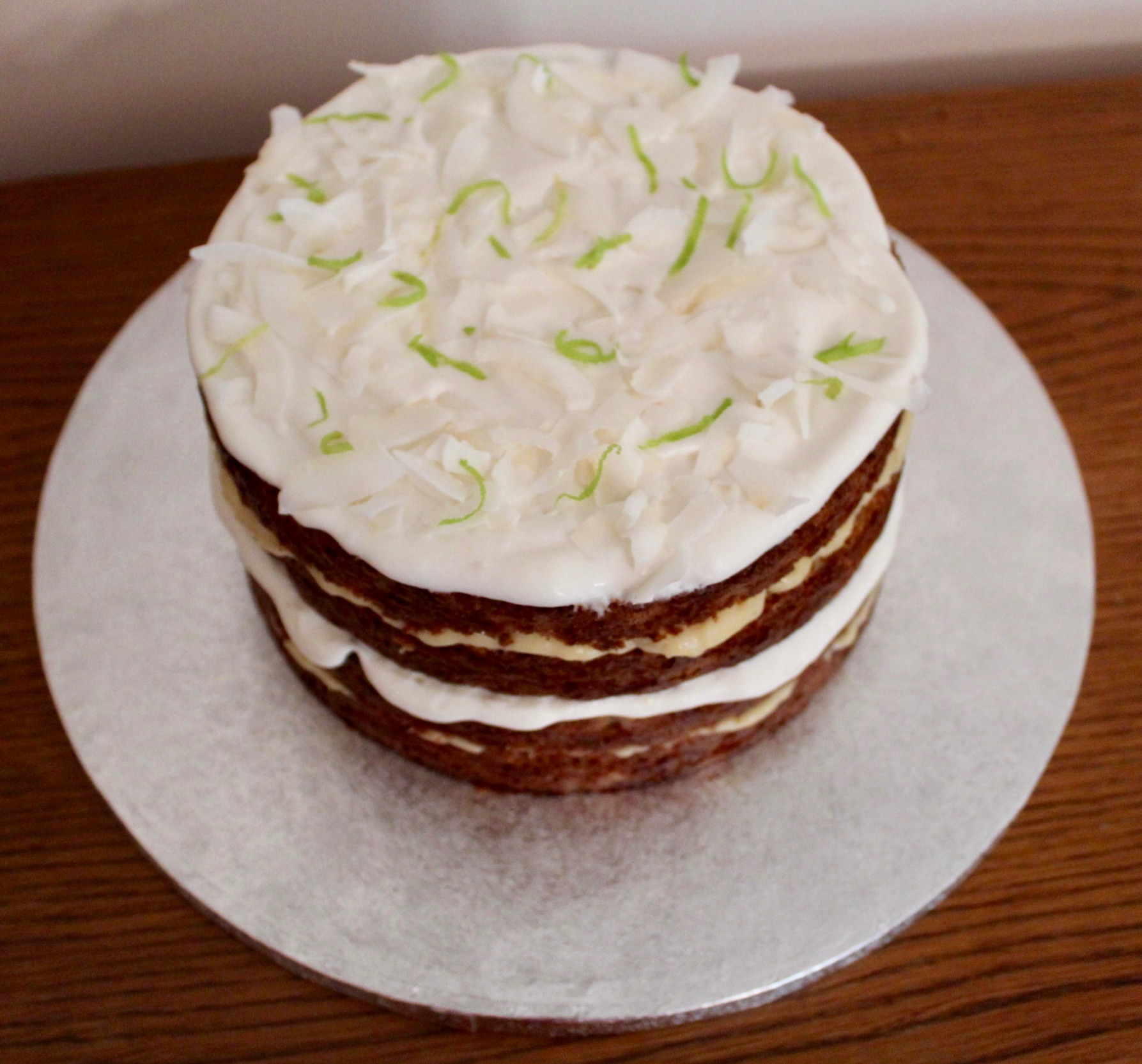 Gluten & dairy free courgette, lime and coconut cake