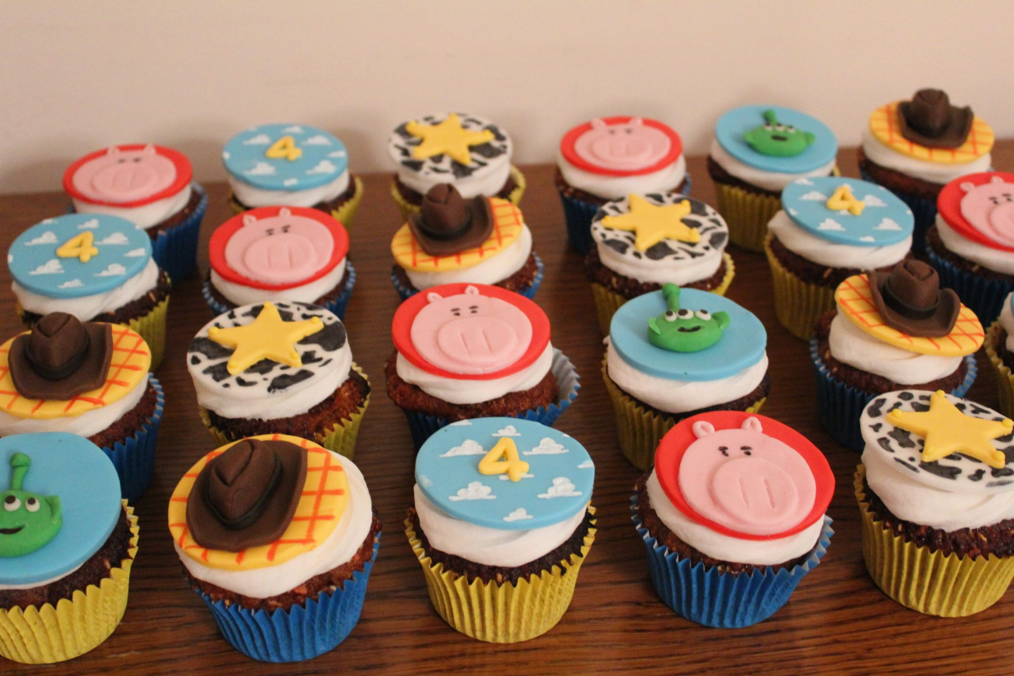 Toy Story gluten, wheat & dairy free vanilla cupcakes with coconut cream icing