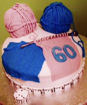 Knitting 60th Birthday Cake